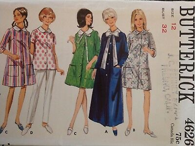 4626 Vintage Butterick SEWING Pattern Misses Semi Fitted Robe Front Button UNCUT