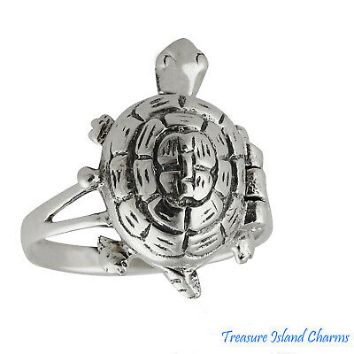 Turtle .925 Solid Sterling Silver Poison Pill Box Ring Opens Size 6 7 8 9 Opens