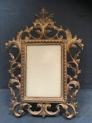Ornate Victorian Rococo Gold Metal Picture Frame Photo Mirror Vtg Free Standing