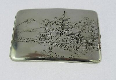 Japanese Sterling Silver Mixed Metal Inlaid Fuji River Scene Cigarette Case