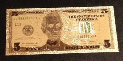 24K GOLD Plated Foil $5 Dollar Bill Collectible Novelty Collection Note Gift