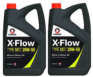 2X Comma X-Flow Type Mot 20W-50 Mineral Engine Motor Oil 4.5 Litres - Mot1G