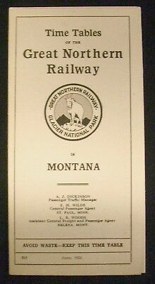 Vintage June 1922 Great Northern Railway in Montana Time Table