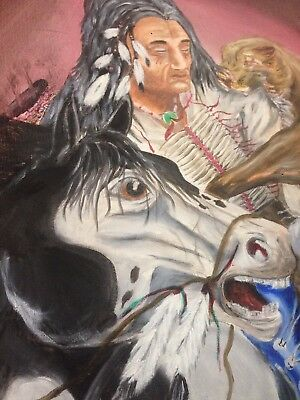 "oil paintings original Art. Native American. 18""x 24"" Canvas Attack From Behind"