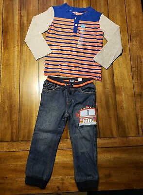 The Children's Place 3t Outfit Set Toddler Boys Firetruck Jeans Long Sleeve Tee