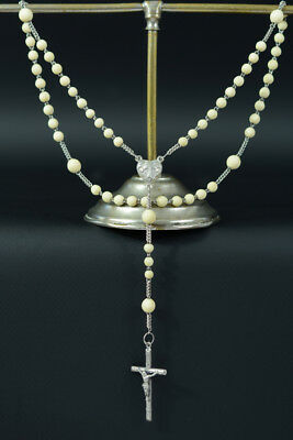 Napoleon III era rare elegant Hand Rosary sterling silver hand carved beads