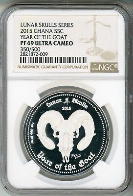 2015 Ghana Silver 5 Cedis Year Of The Goat Ngc Pf69  350/500  Top Pop!