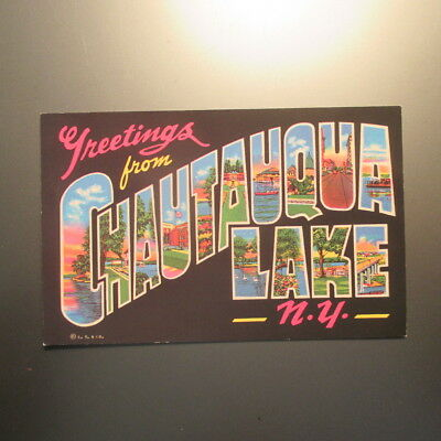 "2 Bit Postcards-E89 ""Greetings From"" Chautauqua Lake, N.Y. Large Letters"