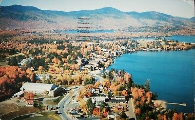 Postcard 1960 Lake Placid, New York Ariel View POSTMARKED 26985