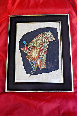 Vintage Professionally Framed Under Glass King Tut Painting On Papyrus/Silk?