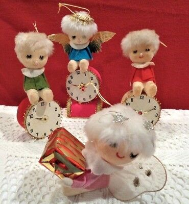 4 vtg 1960 ELF/PIXIE/FAIRY NYLON WINGS & HAND PAINTED FACE XMAS ORNAMENTS-Japan