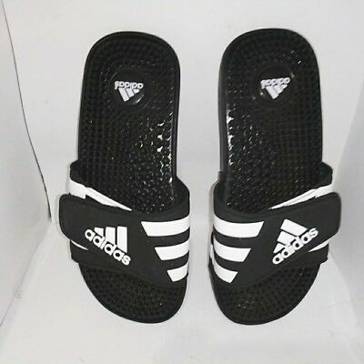 c282067f5e0d Childrens Adidas Adissage Slide Black   White Athletic Kid Sport Sandals  Size 4