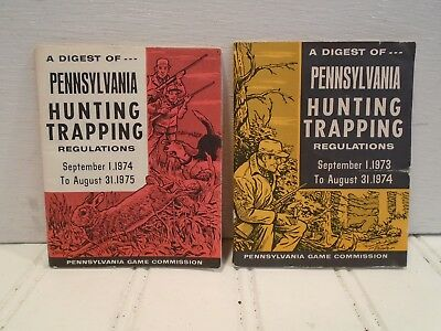 Digest of Pennsylvania Hunting Trapping Regulations lot of 2 1973-74 & 1974-75