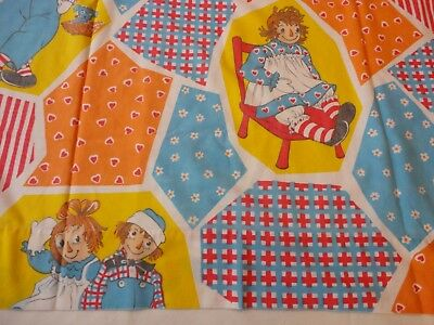 Vintage Raggedy Ann and Andy 1970's Twin Size Flat Sheet Fabric Crafting