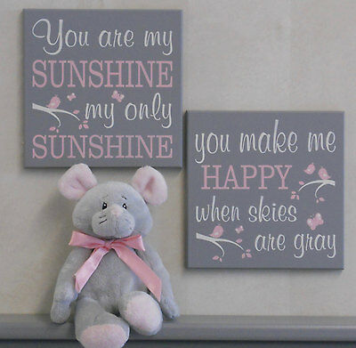 You Are My Sunshine - Sign Set, Painted Grey / Pink, Baby Girl Nursery Wall Art