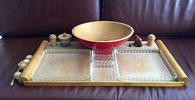 VINTAGE MID CENTURY MODERN Wood & Glass SERVING TRAY & Maple BOWL