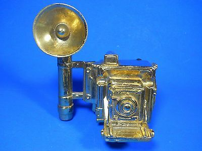 folding Camera with Flash Cast Iron Old goldtone RARE Metal Paperweight Doorstop