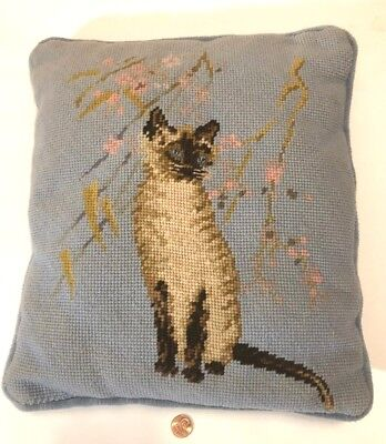 Vintage Pillow SIAMESE CAT Needlepoint TAPESTRY throw sofa Cherry Blossom Blue