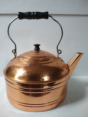 Vintage Revere Ware Copper Tea Kettle with Wood Handle LARGE