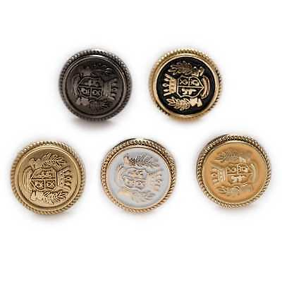 5pcs Round Metal Buttons Carved Enamel Sewing for Clothing Crafts Gifts 15-25mm