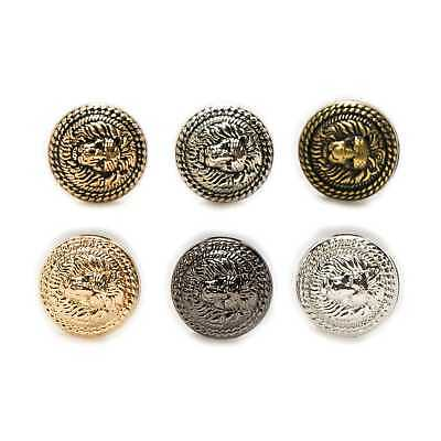 5pcs Lion Pattern Shank Metal Button Round Sewing Suits Blazer Jacket Uniform