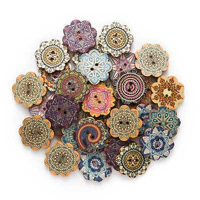 50pcs Painted Flower Wood Buttons for Handwork Sewing Scrapbook Clothing Crafts