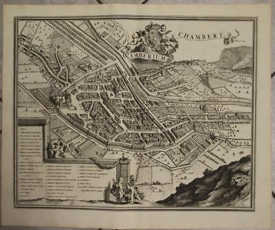 Chambery France 1682 Blaeu Unusual Antique Original Copper Engraved City View
