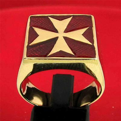 Maltese Cross Crusader Malta Ring Dark Red Enamel - 3 Micron 18K Gold Plating