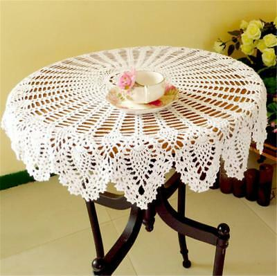 Vintage Round Lace Tablecloth Handmade Crochet Cotton Table Cloth Cover 80cm