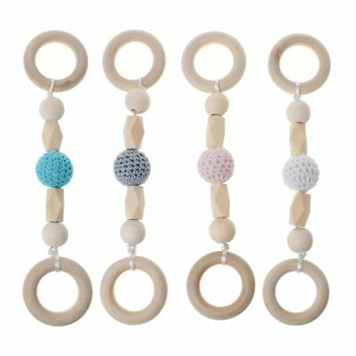 Baby Play Gym Toys Baby Teether Wood Ring Crochet Beads Wooden BPA Free Rattle
