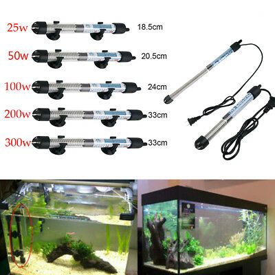25/50/100/200/300W Submersible Heater Heating Rod Bar Aquarium Fish Tank US Plug