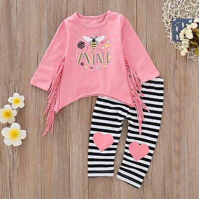 Toddler Kids Baby Girls Outfits Clothes Tassel T-Shirt Tops Dress+Long Pants Set