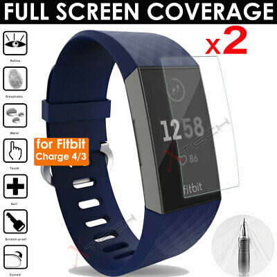 2x FULL SCREEN Curve fit TPU Screen Protector Covers for Fitbit Charge 3