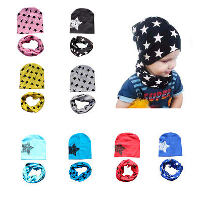 Baby Bonnets Cotton Stars Hat and Scarf Set Autumn Winter Soft Kids Boys Girls