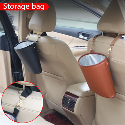 1pc PU Leather Container Storage Bag Trash Can Rubbish Bag for Auto Car Home
