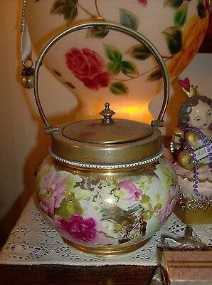 Antique Porcelain China Lidded Bisquit Jar