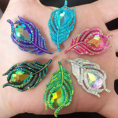 New 10PCS AB Resin 3D Peacock feathers Flatback rhinestone wedding DIY buttons