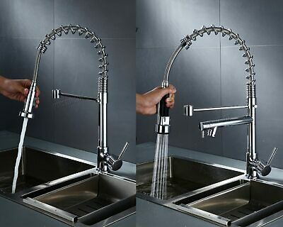 WestWood Kitchen Mixer Tap Pull Out Hose Spray Chrome Faucet Swivel Spout Sink
