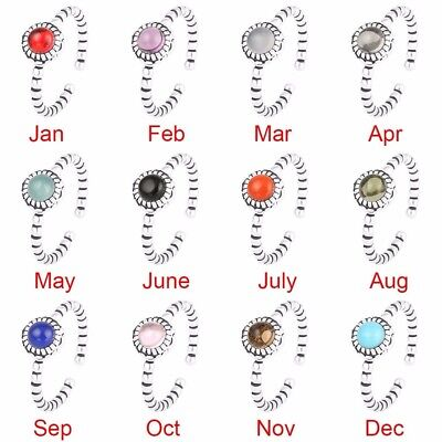 Women's Ringa Twelve Birth Stone Silver Color Open Ring Lady XMAS Gift Free Size