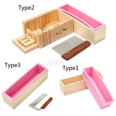 Silicone Soap Mold Wooden Box Loaf Cake Maker Cutting Slicer Cutter Making DIY