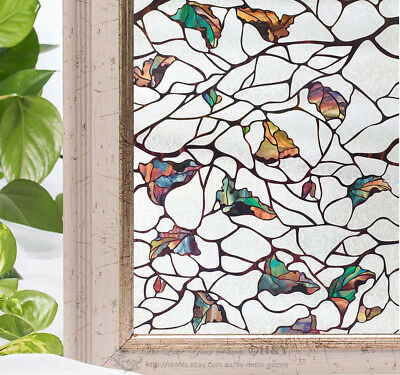 Colour Leaves Window Film Print Sticker Cling Stained Glass UV Block Gift Decor