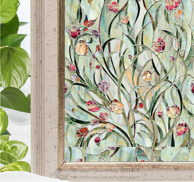Flower Blossom Window Film Print Sticker Cling Stained Glass UV Block Gift Decor