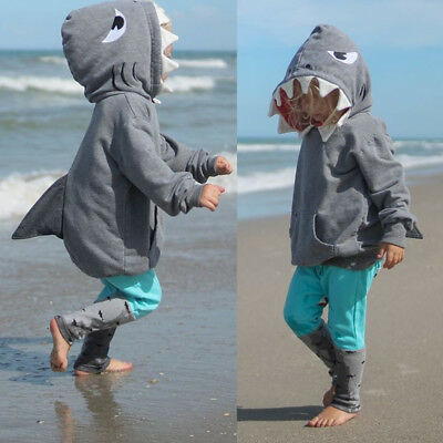 UK Toddler Kid Baby Girls Boys Cartoon Hoodie Shark Shirt Tops+Pants Clothes Set