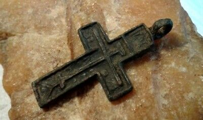 RARE ANTIQUE c. 15-17th CENTURY RUSSIAN NORTH ORTHODOX CROSS PENDANT