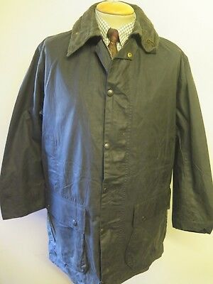 "Vintage Barbour A205 Border Waxed jacket - M 40"" Euro 50 in Blue"