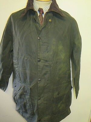 "Vintage Barbour A200 Border Waxed jacket - M 40"" Euro 50 in Sage Green"