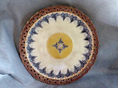 Delightful & Rare Antique Wedgewood Majolica Reticulated Grey Vine Plate, c1870