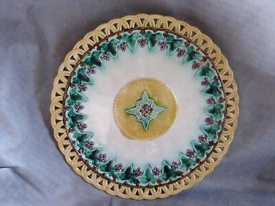 Delightful & Rare Antique Wedgewood Majolica Reticulated Vine Plate, 1872, AF