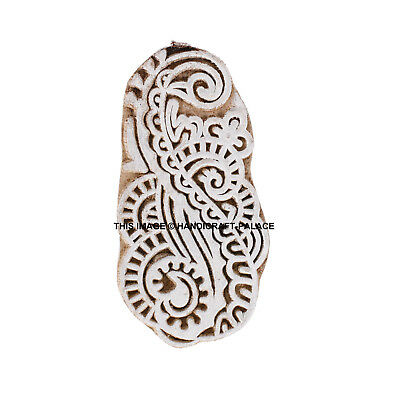 Flower Shaped 8.5cm x 4 cm Indian Hand Carved Wooden Printing Block Stamps