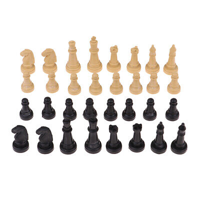 32pcs Wooden + Black Plastic Chess Pieces Lot Party Board Game Toy Accessory
